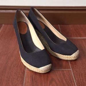 J. Crew black canvas wedge espadrilles 7.5 heels